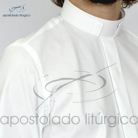 Camisa Confort Gola Romana Branca Frente