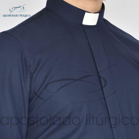 Camisa Slim Fit Gola Clerical Azul Marinho Frente