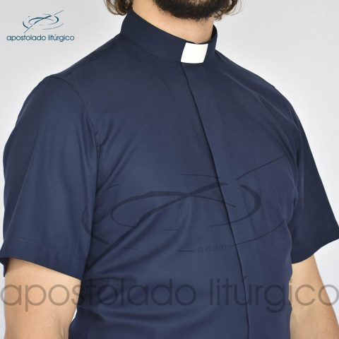 Camisa Slim Fit Gola Clerical Azul Marinho Manga Curta Frente