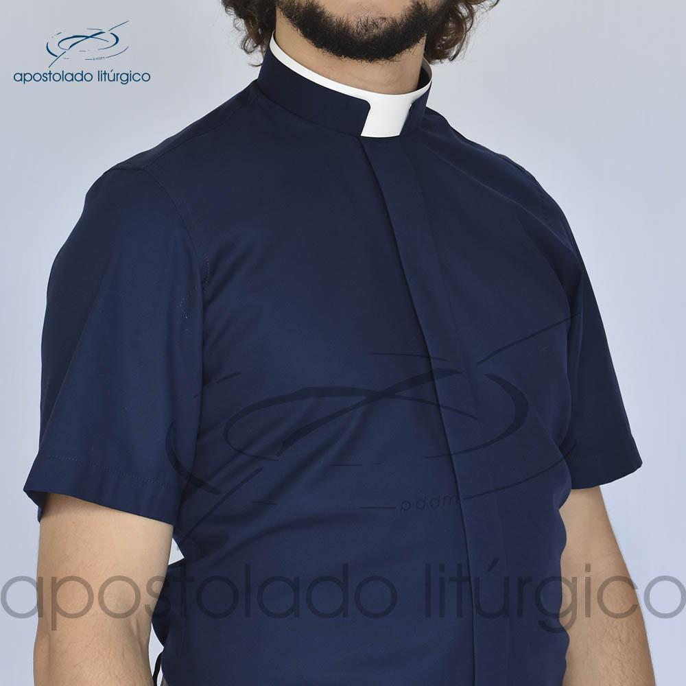 Camisa Slim Fit Gola Romana Azul Marinho Manga Curta Frente | Apostolado Litúrgico Brasil