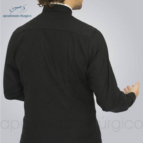 Camisa Slim Fit Gola Romana Preta Manga Longa Costas