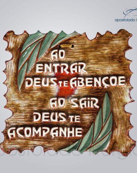Quadro de Ceramica Ao entrar Deus te Abencoe 16x16cm – COD 2071