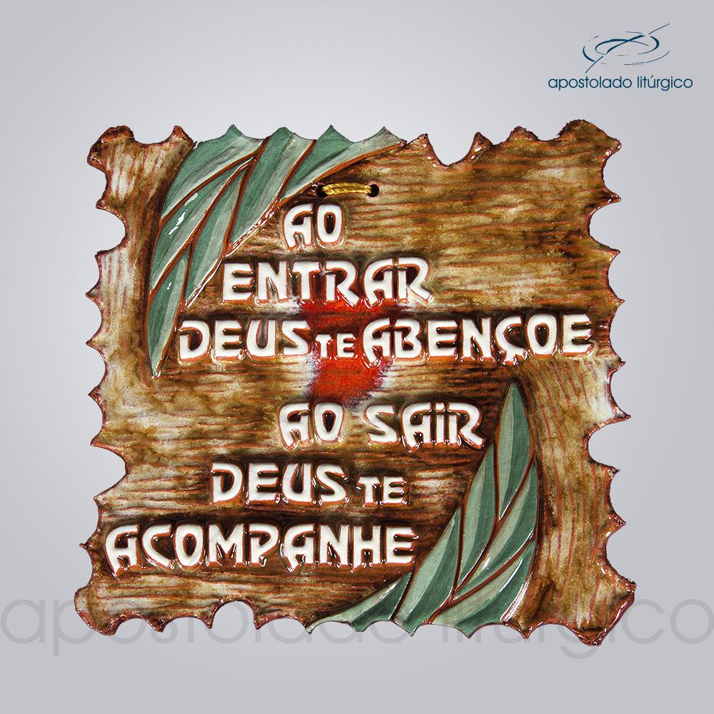 Quadro de Ceramica Ao entrar Deus te Abencoe 16x16cm COD 2071 | Apostolado Litúrgico Brasil