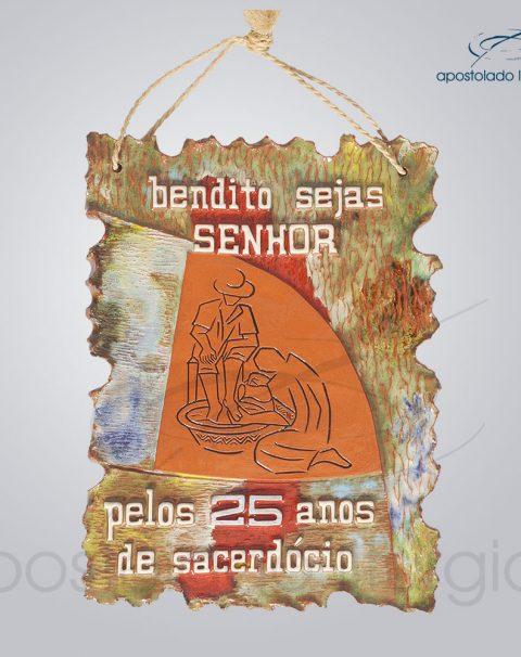 Quadro de Ceramica Bendito Sejas Pelos 25 anos de Sacerdocio G2 30x22cm – COD 2077