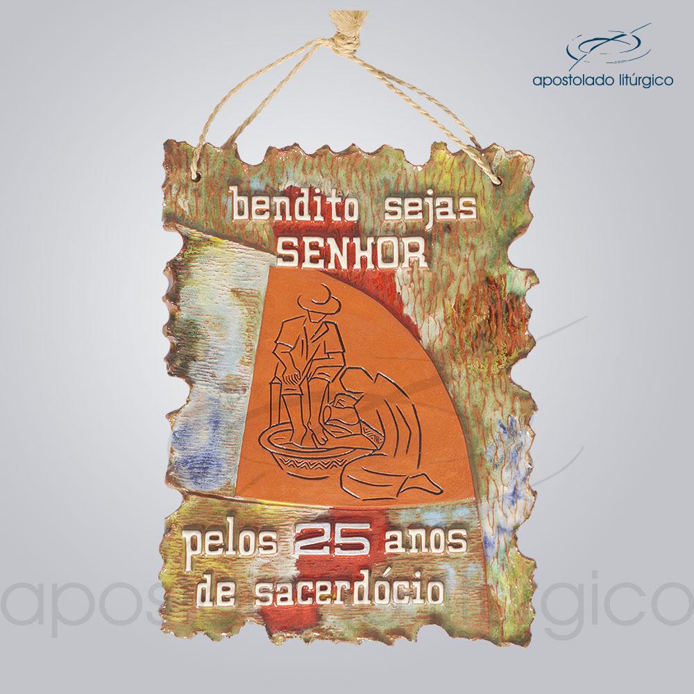 Quadro de Ceramica Bendito Sejas Pelos 25 anos de Sacerdocio G2 30x22cm COD 2077   Apostolado Litúrgico Brasil
