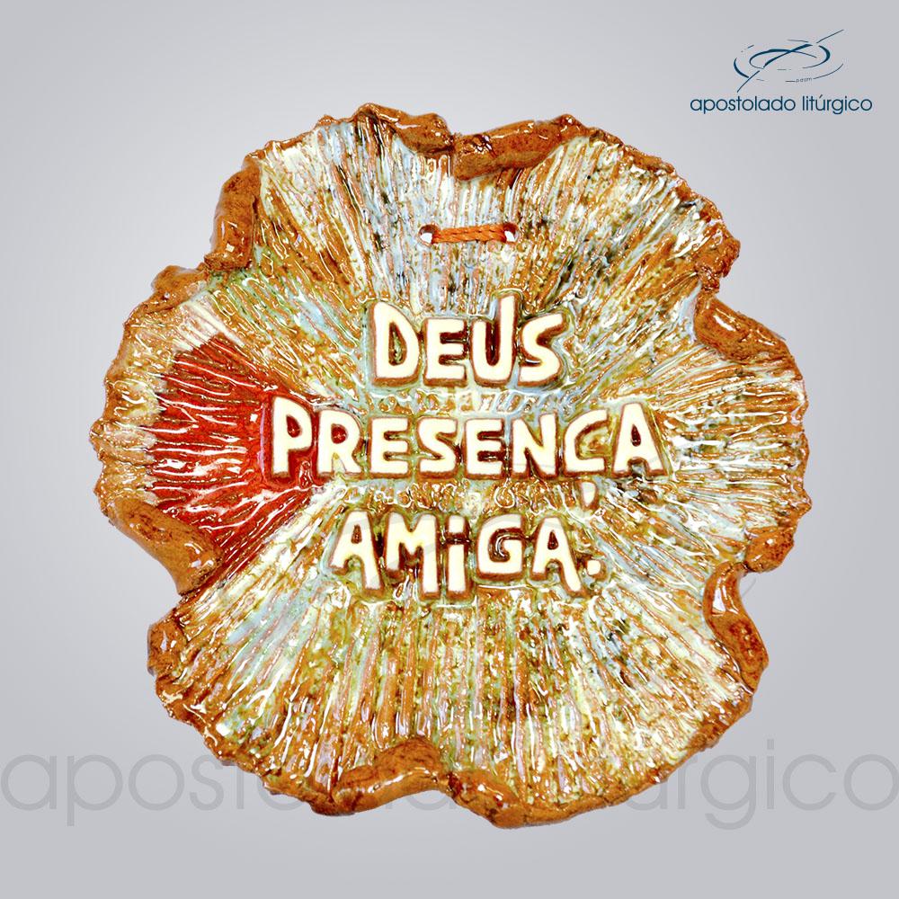 Quadro de Ceramica Deus Presenca Amiga 12x13cm COD 2080 | Apostolado Litúrgico Brasil