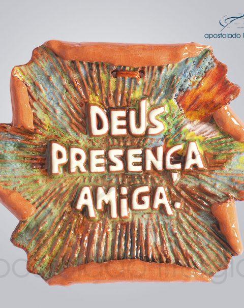 Quadro de Ceramica Deus Presenca Amiga Pergaminho 10x12cm – COD 2149