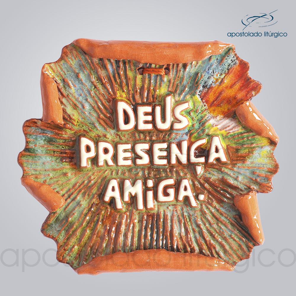 Quadro de Ceramica Deus Presenca Amiga Pergaminho 10x12cm COD 2149 | Apostolado Litúrgico Brasil