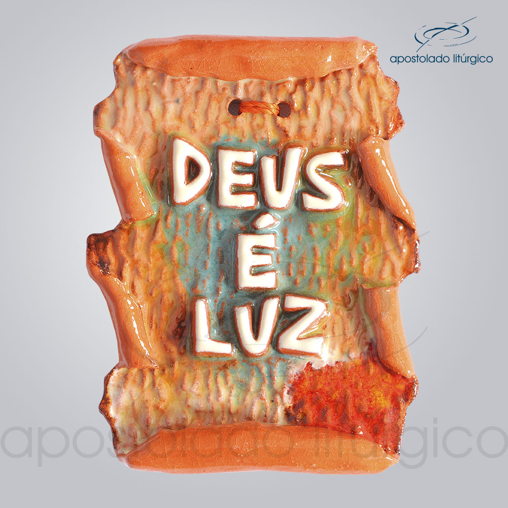 Quadro de Ceramica Deus e Luz Pergaminho 9x7cm COD 2152 | Apostolado Litúrgico Brasil