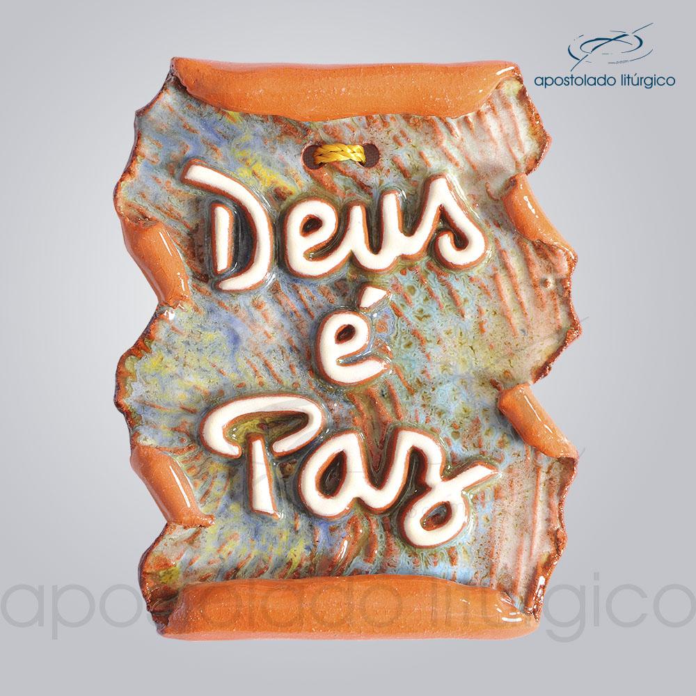 Quadro de Ceramica Deus e Paz Pergaminho 10x7cm COD 2196 | Apostolado Litúrgico Brasil