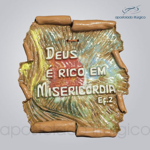 Quadro de Ceramica Deus e Rico em Misericordia 16x14cm - COD 2018