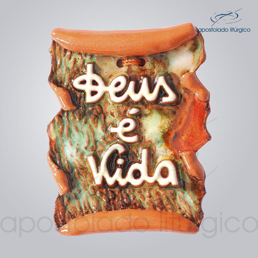 Quadro de Ceramica Deus e Vida Pergaminho 9x8cm COD 2153 | Apostolado Litúrgico Brasil