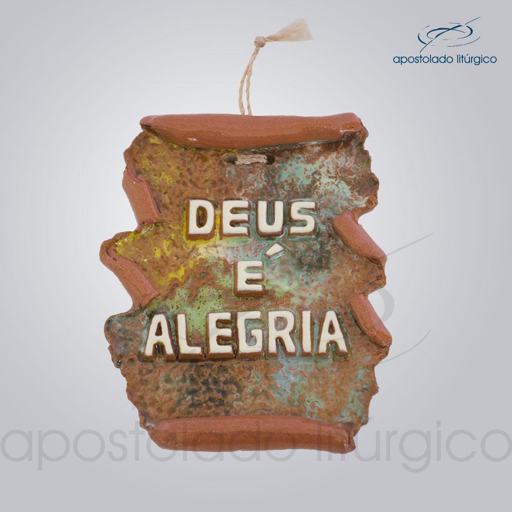 Quadro de Ceramica Deus e alegria em pergaminho 10x9 cm 2197   Apostolado Litúrgico Brasil