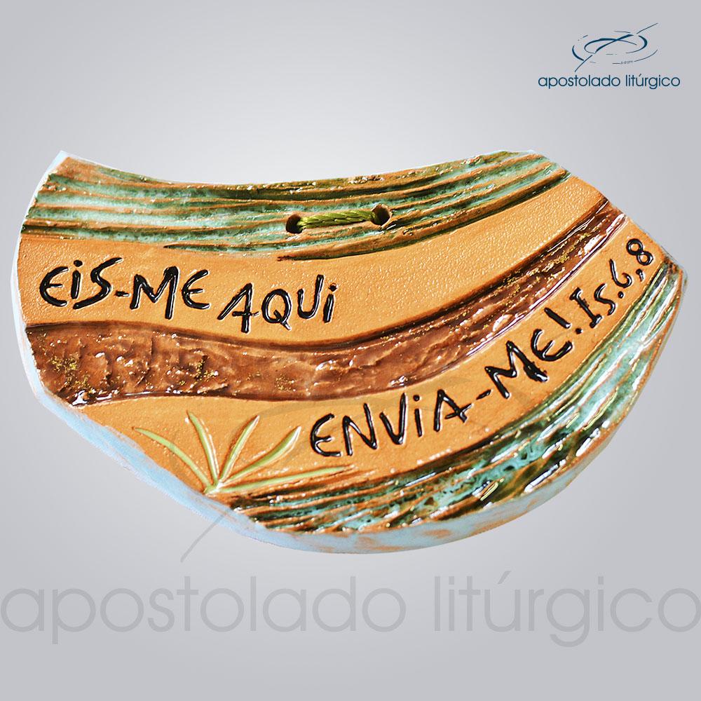 Quadro de Ceramica Eis me Aqui 7x12cm COD 39996 | Apostolado Litúrgico Brasil