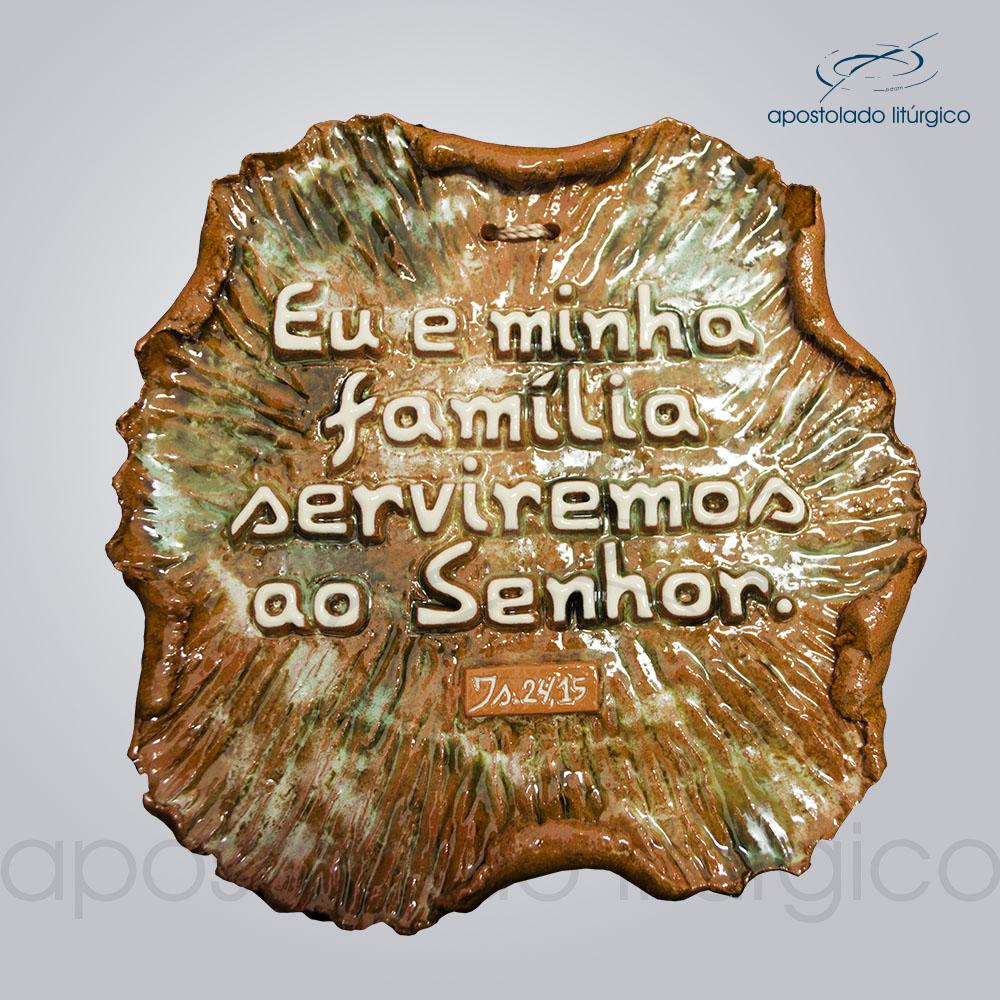 Quadro de Ceramica Eu e Minha Familia 15x17cm COD 2054 | Apostolado Litúrgico Brasil