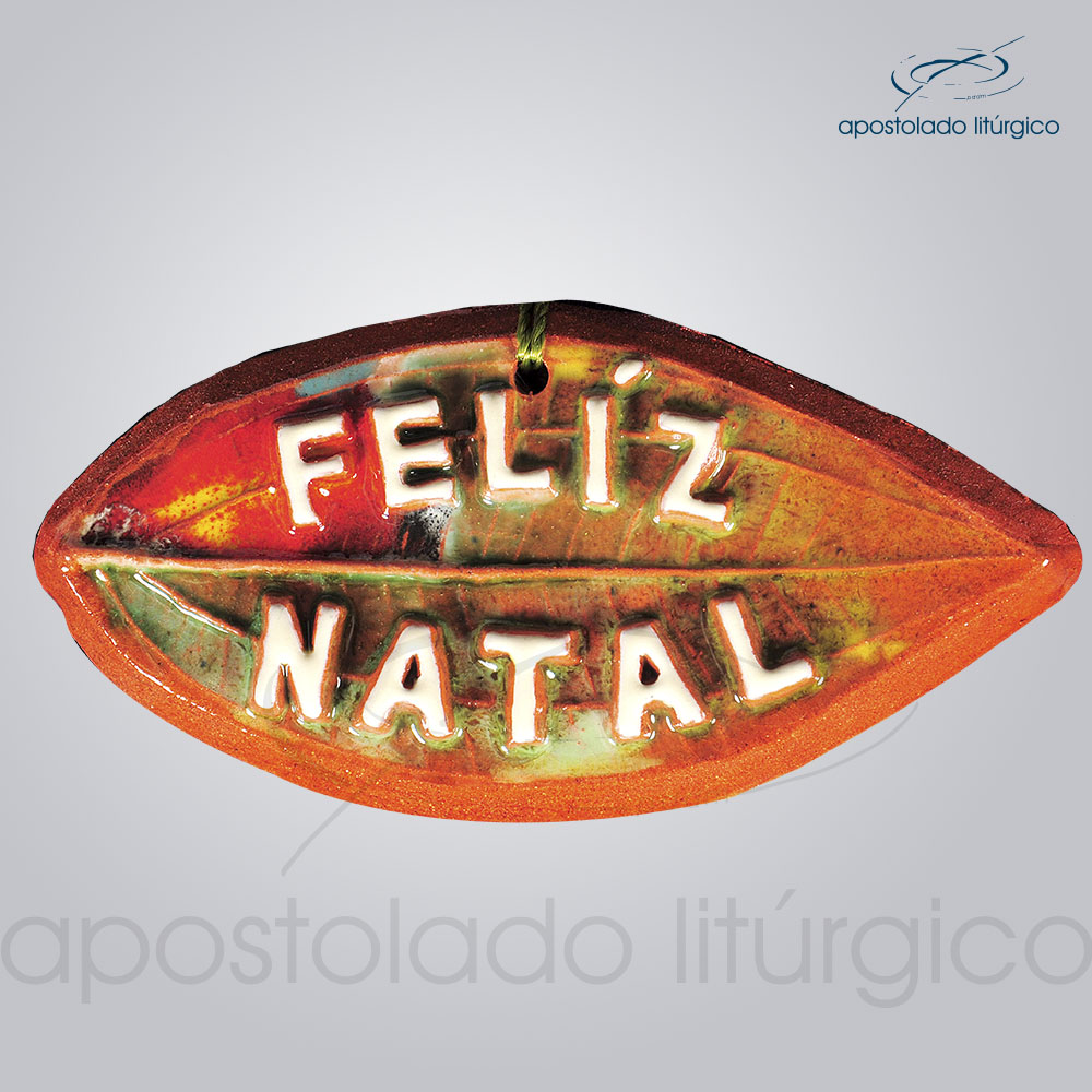 Quadro de Ceramica Feliz Natal Folha 6x11cm 2116 | Apostolado Litúrgico Brasil