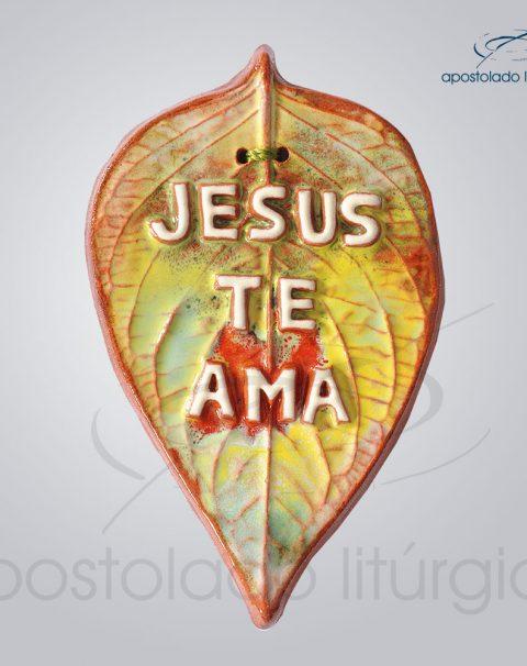 Quadro de Ceramica Jesus Te Ama Folha 13x8cm – COD 2099