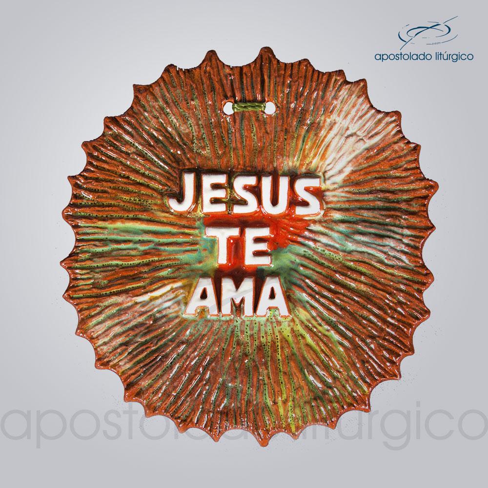 Quadro de Ceramica Jesus te ama 12X10 cm 2101 | Apostolado Litúrgico Brasil