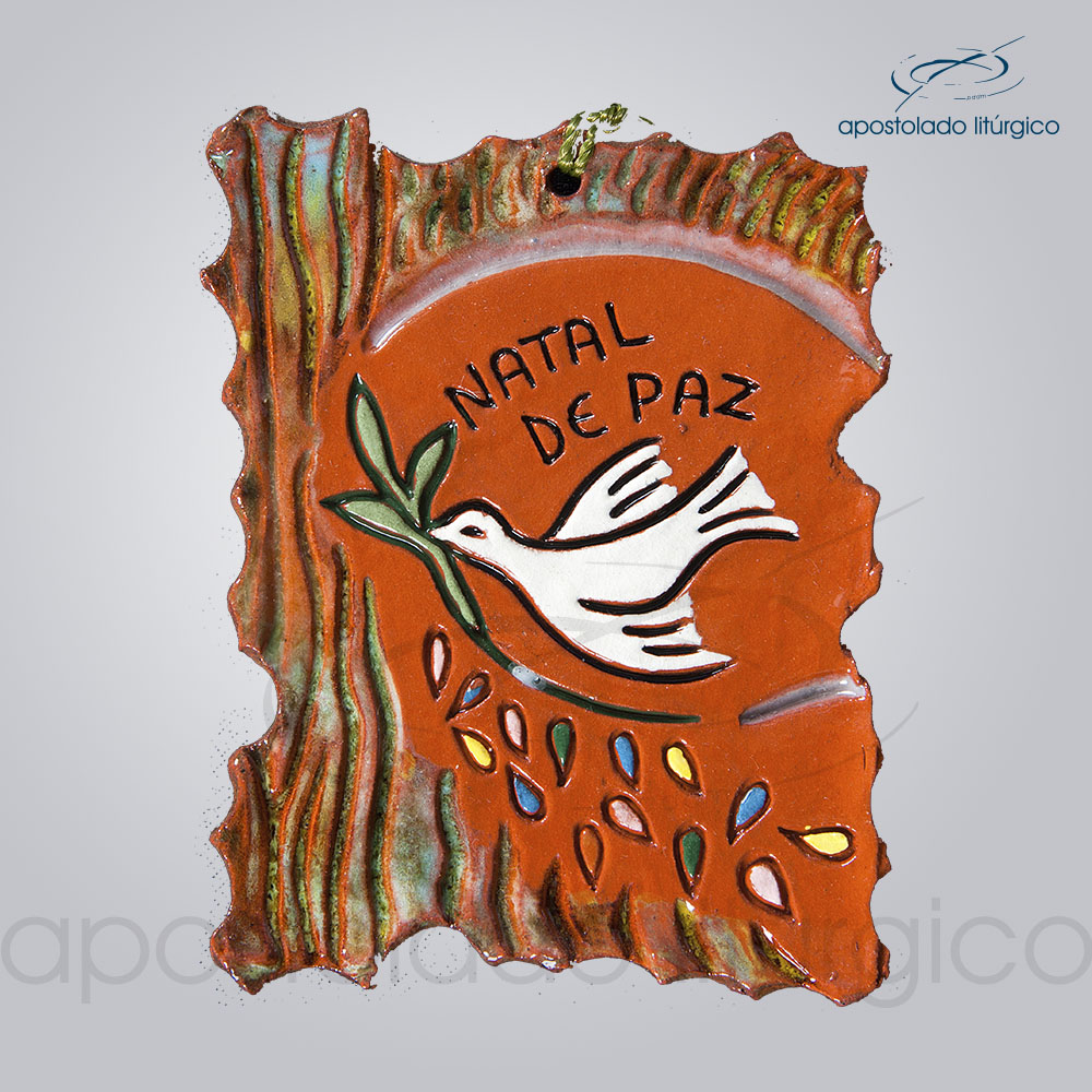 Quadro de Ceramica Natal de Paz 11X8 cm 2064 | Apostolado Litúrgico Brasil