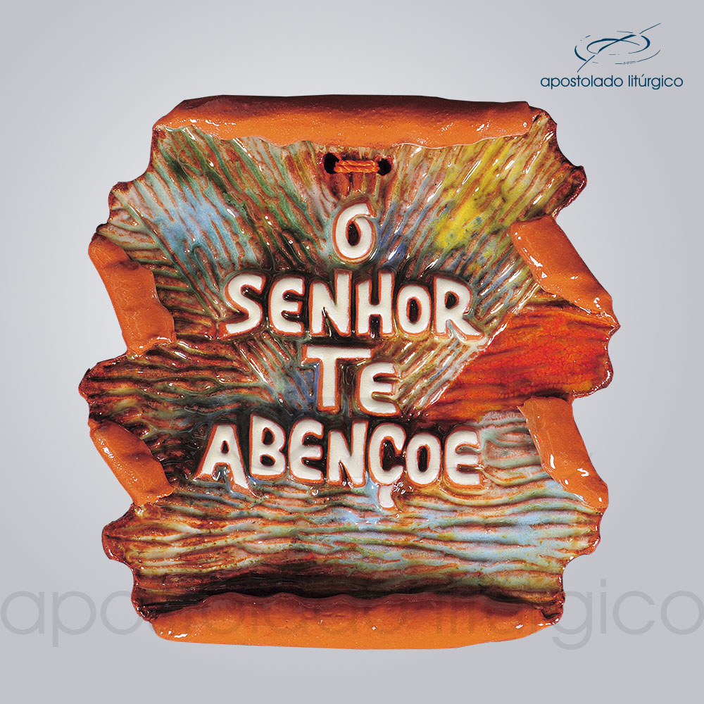 Quadro de Ceramica O Senhor Te Abencoe Pergaminho COD 2151 | Apostolado Litúrgico Brasil