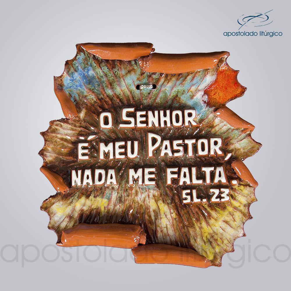Quadro de Ceramica O Senhor e Meu Pastor Pergaminho