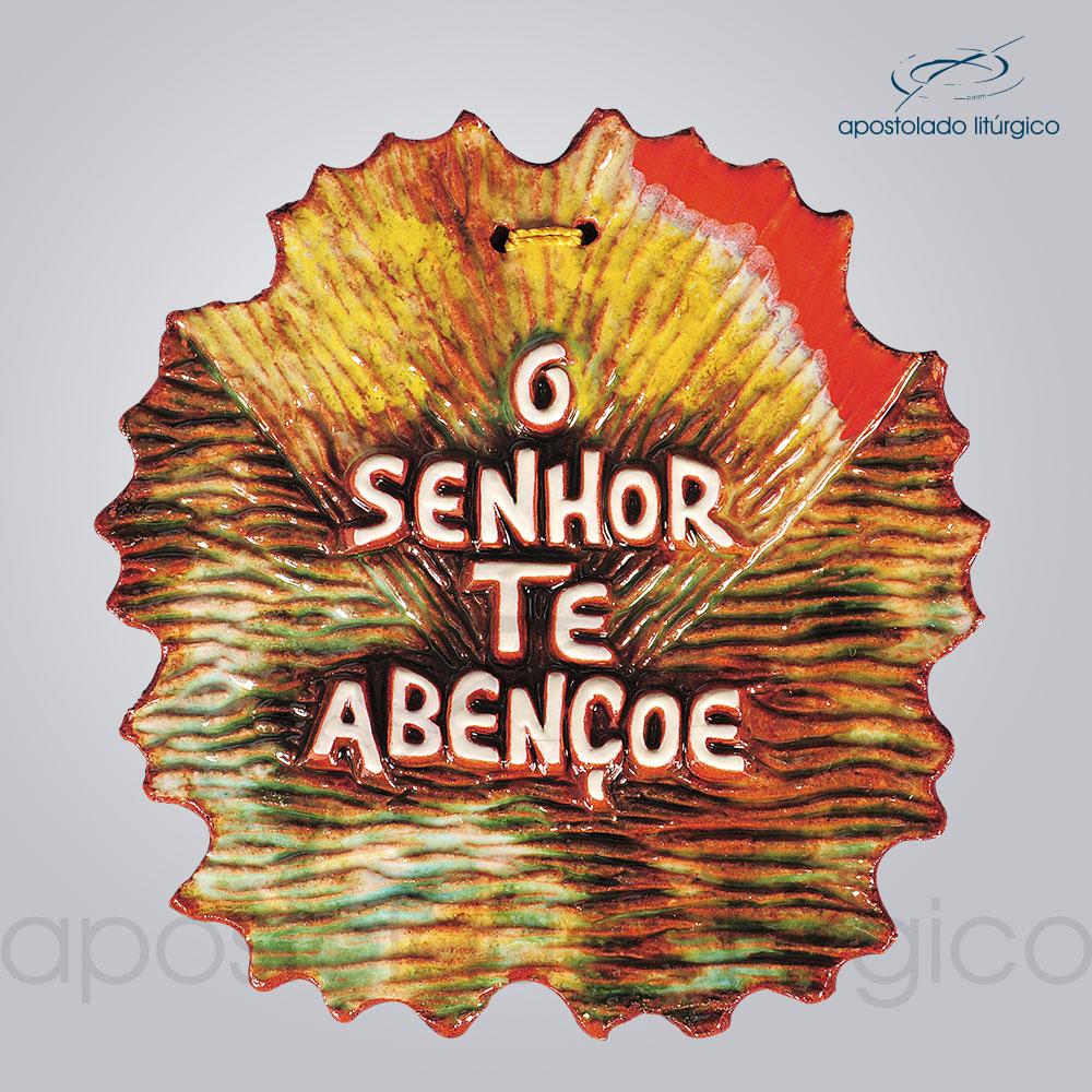 Quadro de Ceramica O Senhor te abencoe 11x11cm COD 2104 | Apostolado Litúrgico Brasil