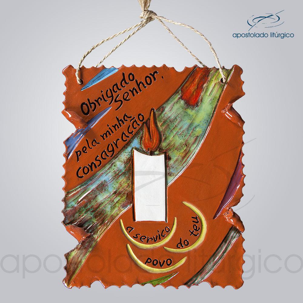 Quadro de Ceramica Obrigado Senhor Pela Consagracao 27x22cm COD 2060 | Apostolado Litúrgico Brasil