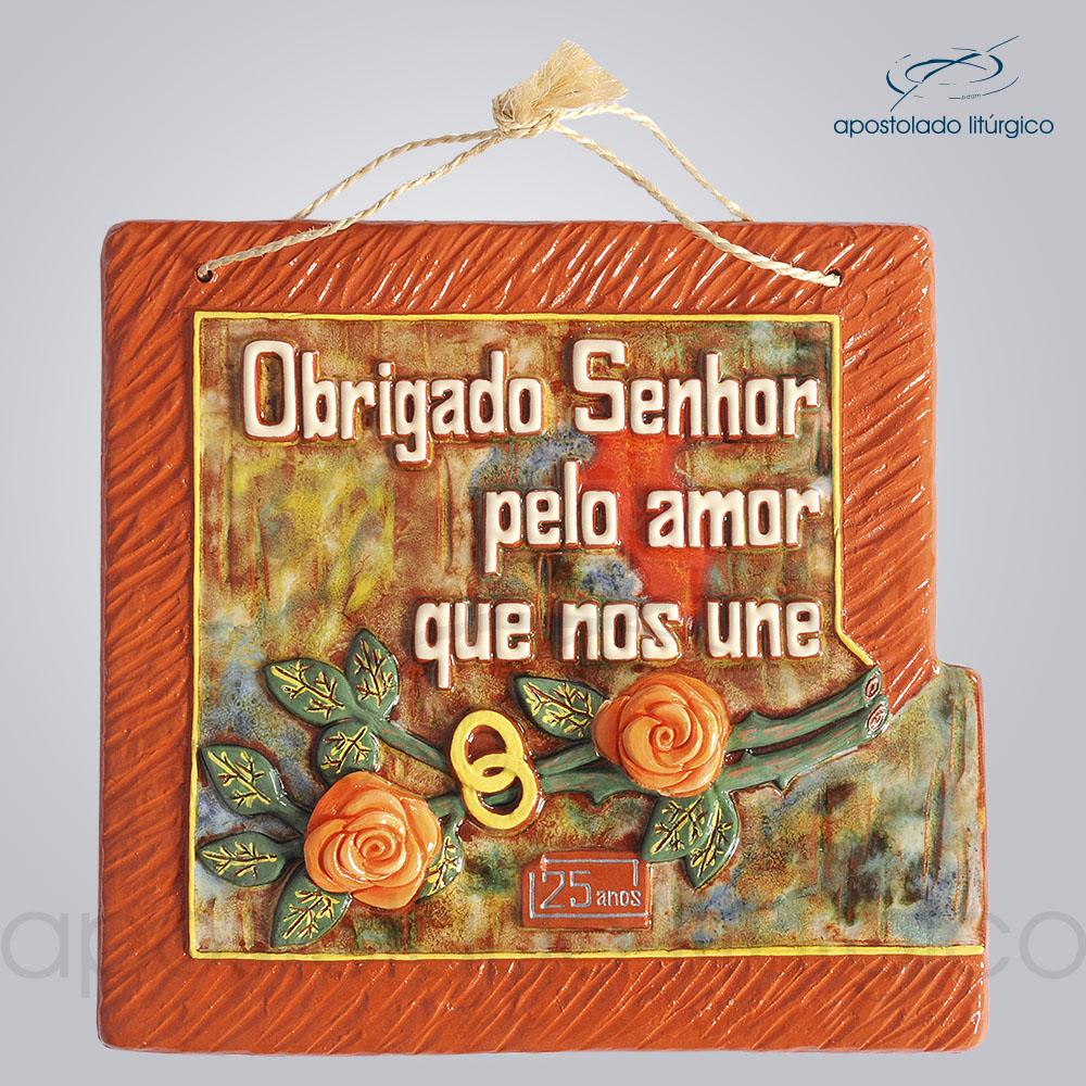 Quadro de Ceramica Obrigado Senhor Pelo Amor que Nos Une 25 Anos 30x32cm COD 2086 | Apostolado Litúrgico Brasil