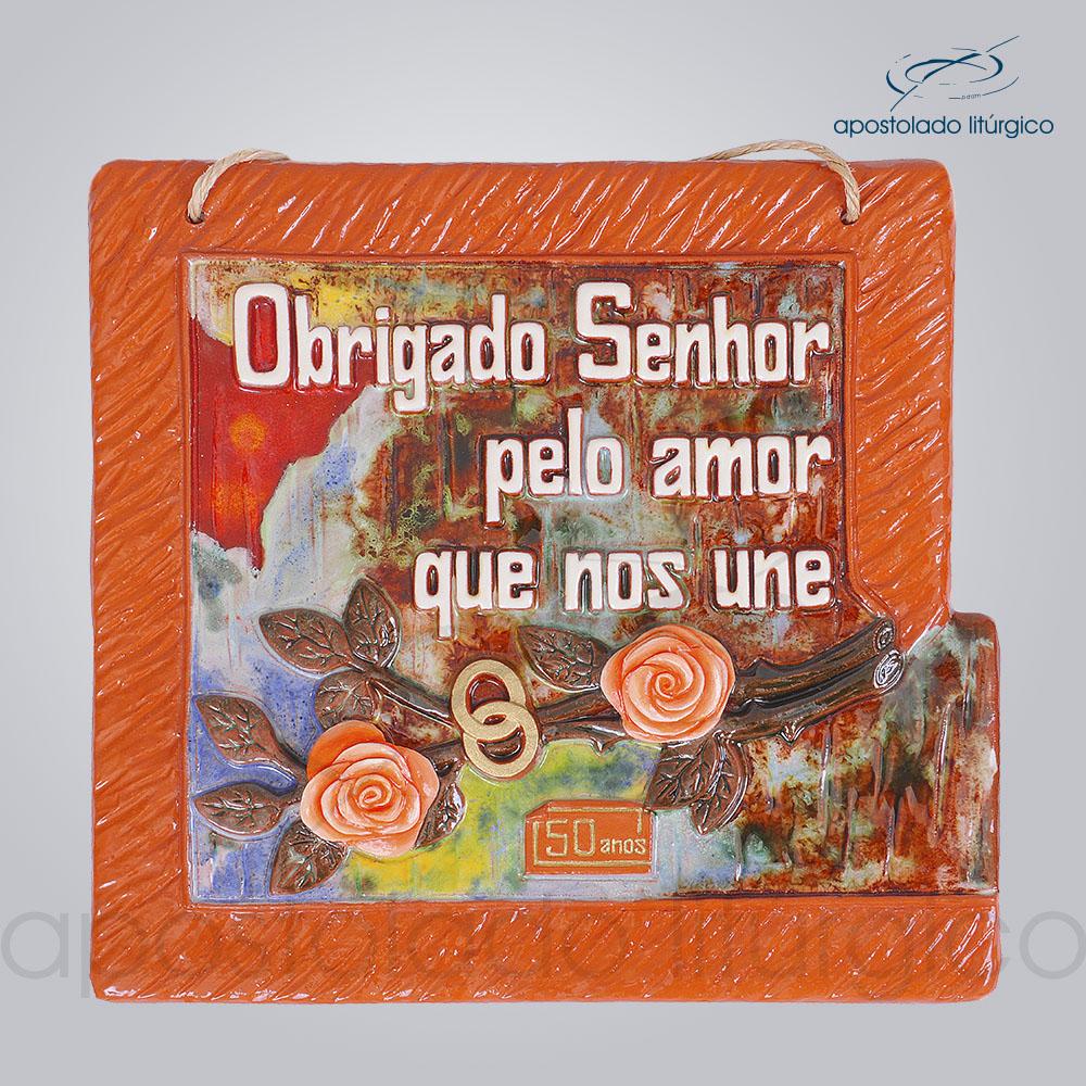 Quadro de Ceramica Obrigado Senhor Pelo Amor que Nos Une 50 Anos 30x32cm COD 2087 | Apostolado Litúrgico Brasil