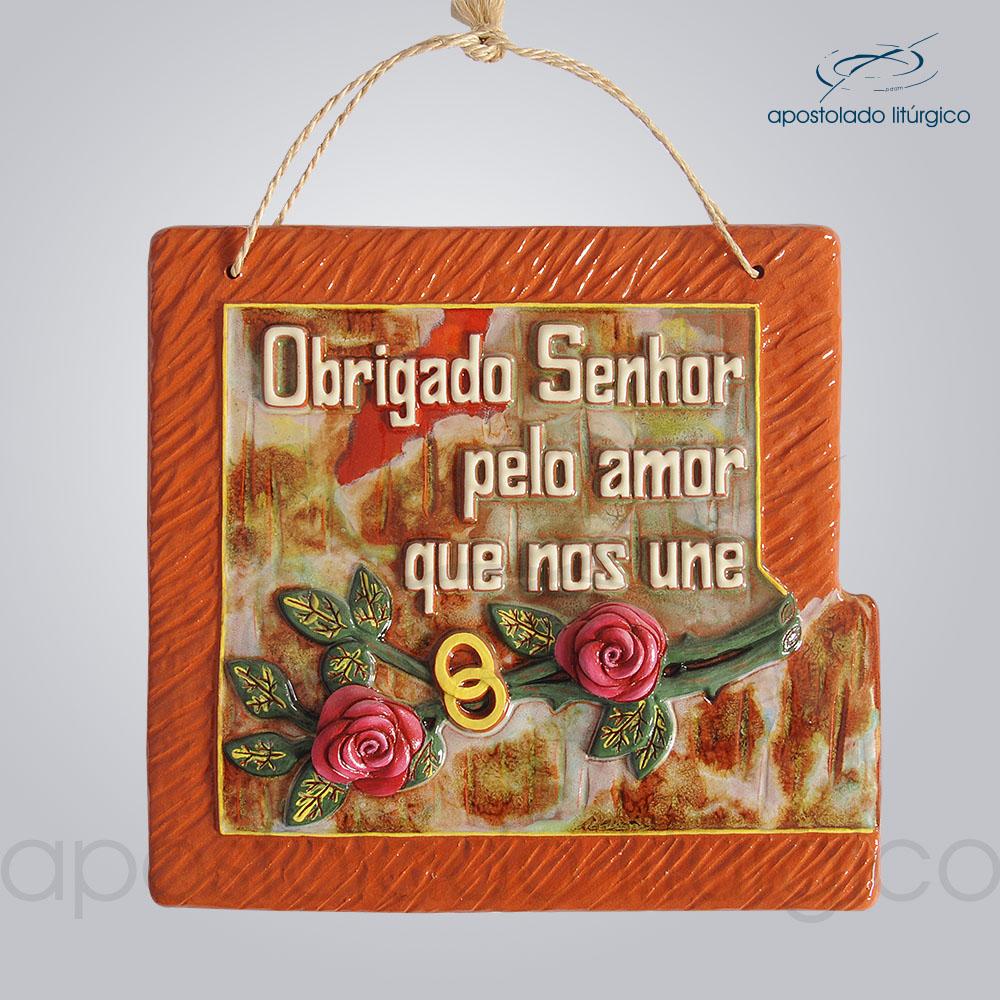 Quadro de Ceramica Obrigado Senhor Pelo Amor que nos Une G2 30x32cm COD 2066 | Apostolado Litúrgico Brasil