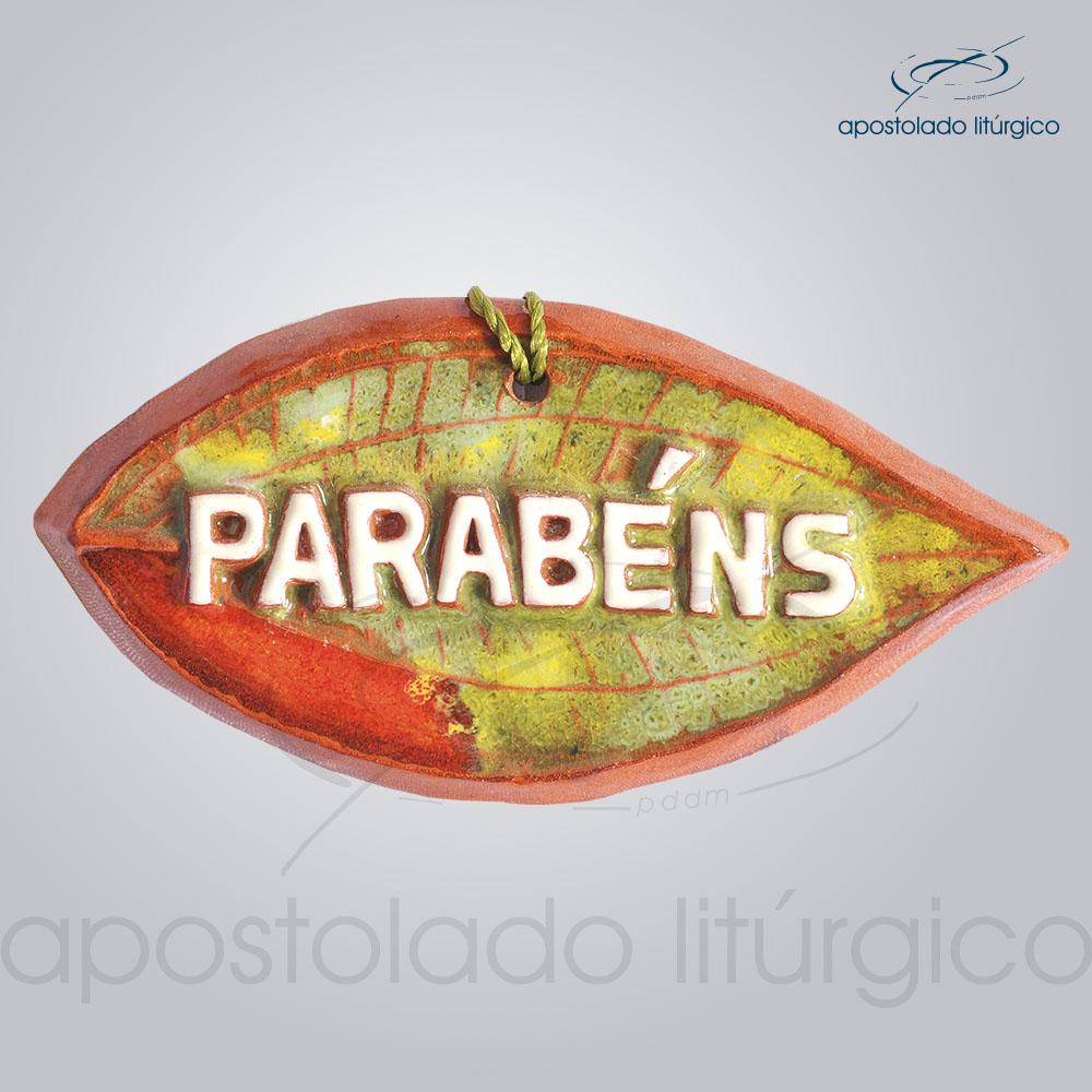 Quadro de Ceramica Parabens Folha 6X11 cm 2067   Apostolado Litúrgico Brasil