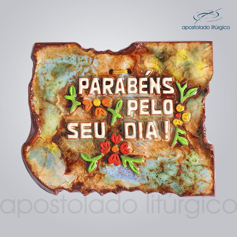 Quadro de Ceramica Parabens Pelo Seu Dia PO 10x12cm COD 2100 | Apostolado Litúrgico Brasil