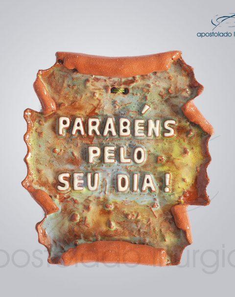 Quadro de Ceramica Parabens pelo seu dia pergaminho 12X13 cm-2214