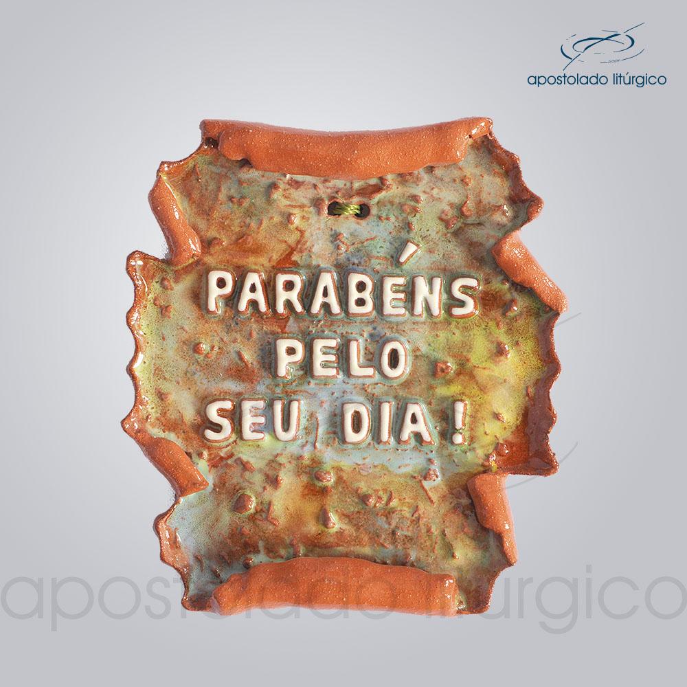 Quadro de Ceramica Parabens pelo seu dia pergaminho 12X13 cm 2214 | Apostolado Litúrgico Brasil