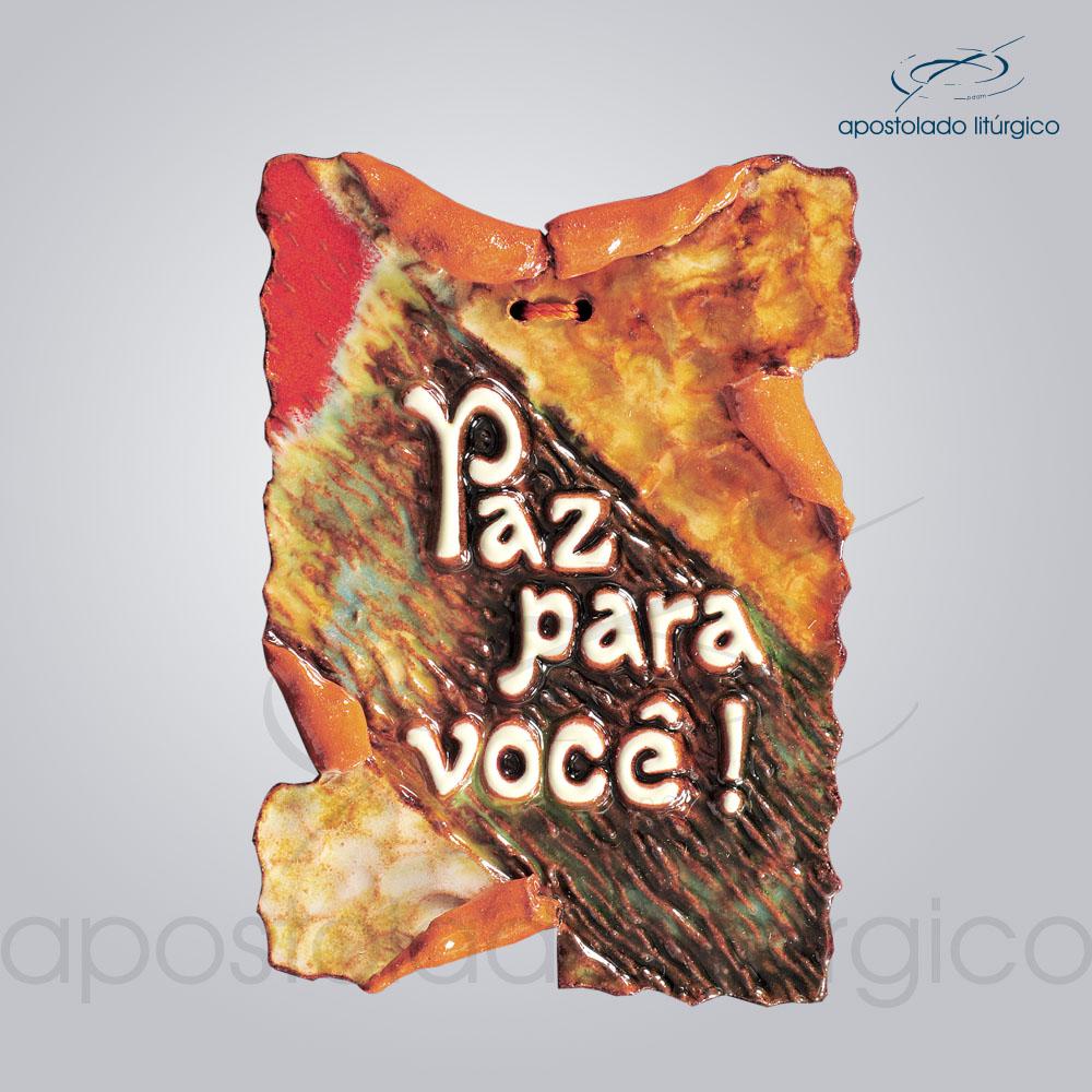 Quadro de Ceramica Paz Para Voce P1 15x10cm COD 2046 | Apostolado Litúrgico Brasil