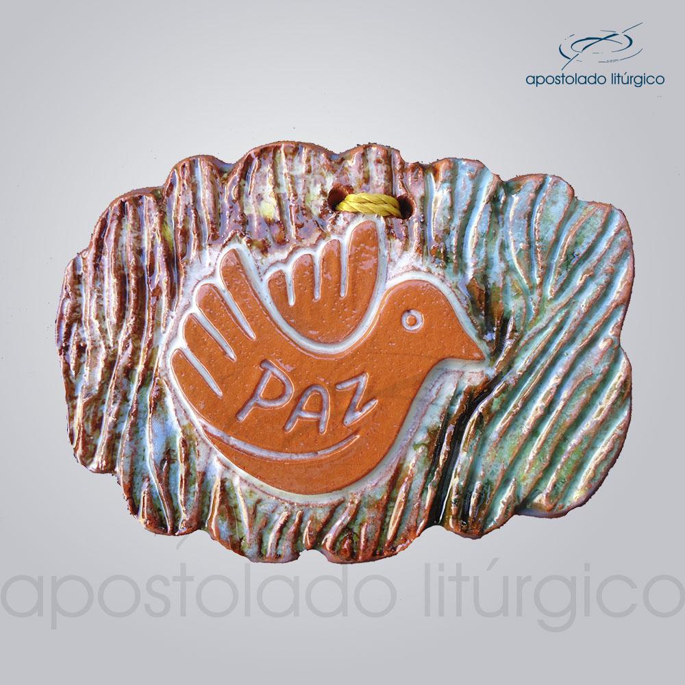 Quadro de Ceramica Paz Pomba 7x9cm 39002 | Apostolado Litúrgico Brasil