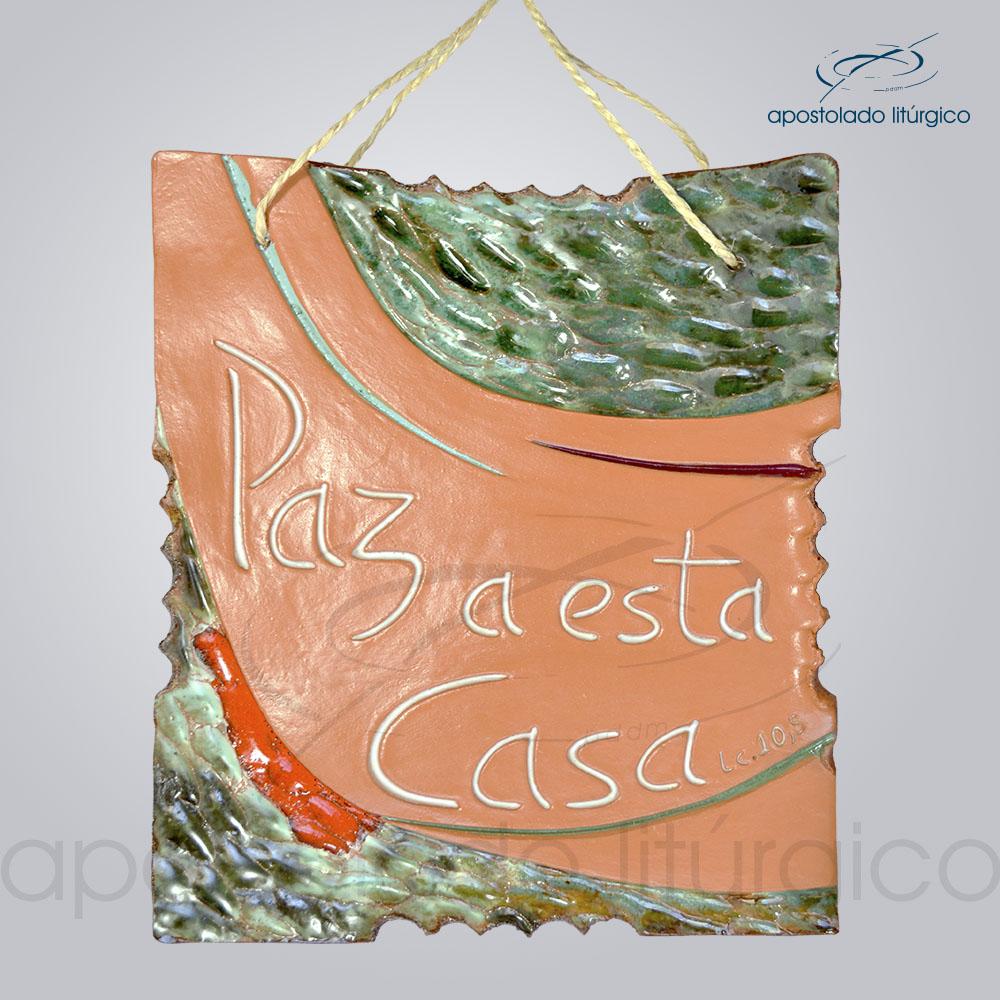 Quadro de Ceramica Paz a Esta Casa M2 23x20cm - COD 2061