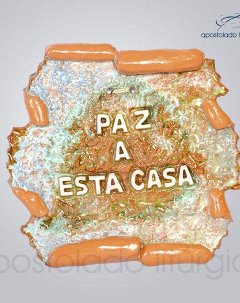 Quadro de Ceramica Paz a Esta Casa Pergaminho 11x12cm – COD 2150