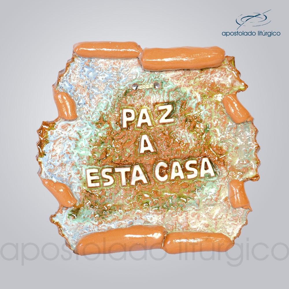 Quadro de Ceramica Paz a Esta Casa Pergaminho 11x12cm COD 2150 | Apostolado Litúrgico Brasil
