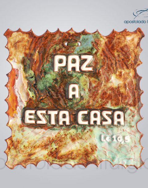 Quadro de Ceramica Paz a esta Casa P2 17x17cm – COD 2050