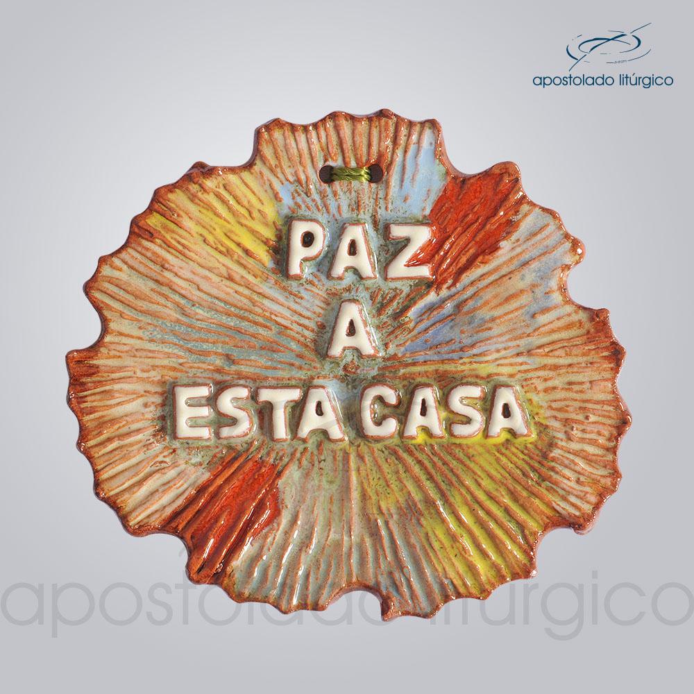 Quadro de Ceramica Paz a esta casa 12X13 cm 2090 | Apostolado Litúrgico Brasil