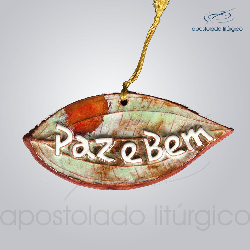 Quadro de Ceramica Paz e Bem PO Folha 5x11cm COD 2097 | Apostolado Litúrgico Brasil