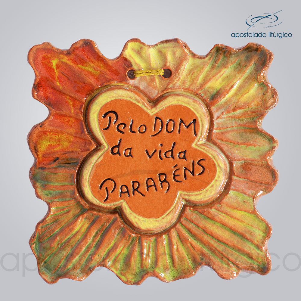 Quadro de Ceramica Pelo Dom da Vida PO 10x10cm COD 2047   Apostolado Litúrgico Brasil