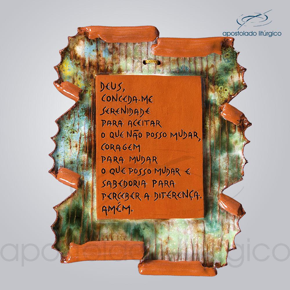 Quadro de Ceramica Prece da Serenidade Pergaminho P2 20x18cm COD 2211 | Apostolado Litúrgico Brasil