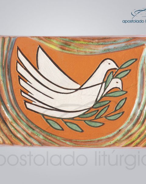 Quadro de Ceramica Ramo Oliveira Pomba 10x15cm – COD 2036