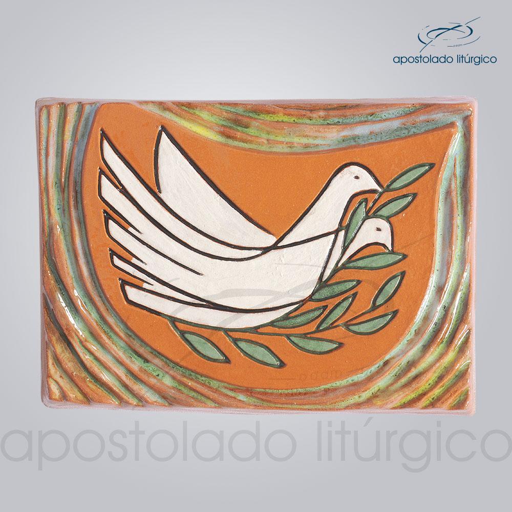 Quadro de Ceramica Ramo Oliveira Pomba 10x15cm COD 2036 | Apostolado Litúrgico Brasil