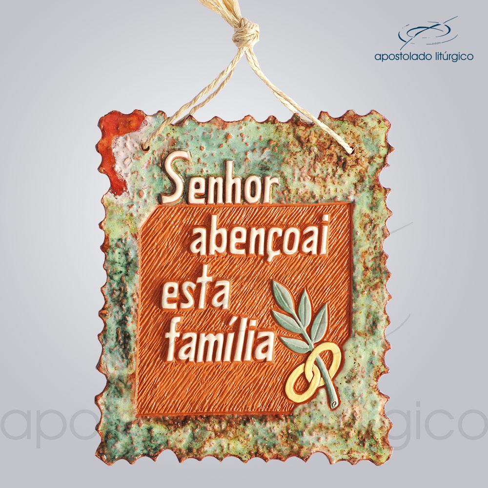 Quadro de Ceramica Senhor Abencoai Esta Familia M2 25x21cm COD 2062 | Apostolado Litúrgico Brasil