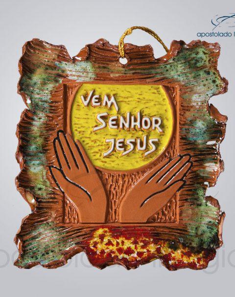 Quadro de Ceramica Vem Senhor Jesus P2 17X16 cm-2084