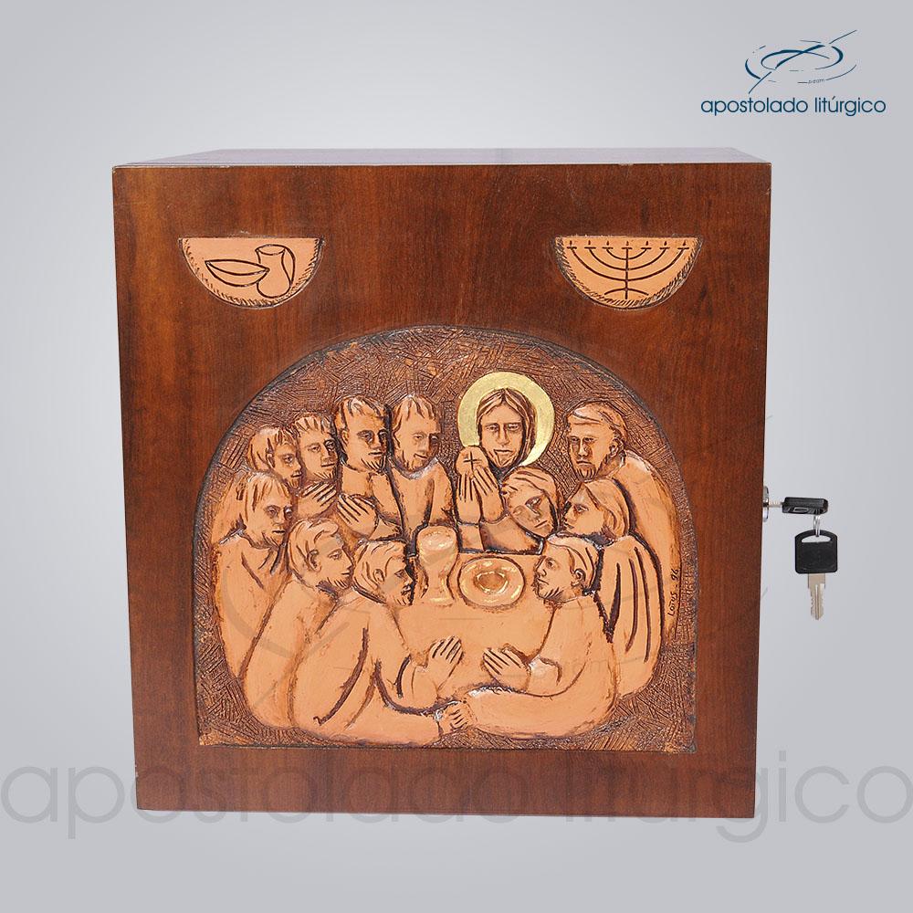 Sacrario Ceia Simbolo Betumado 32x32x28cm Frente COD 4072 1   Apostolado Litúrgico Brasil