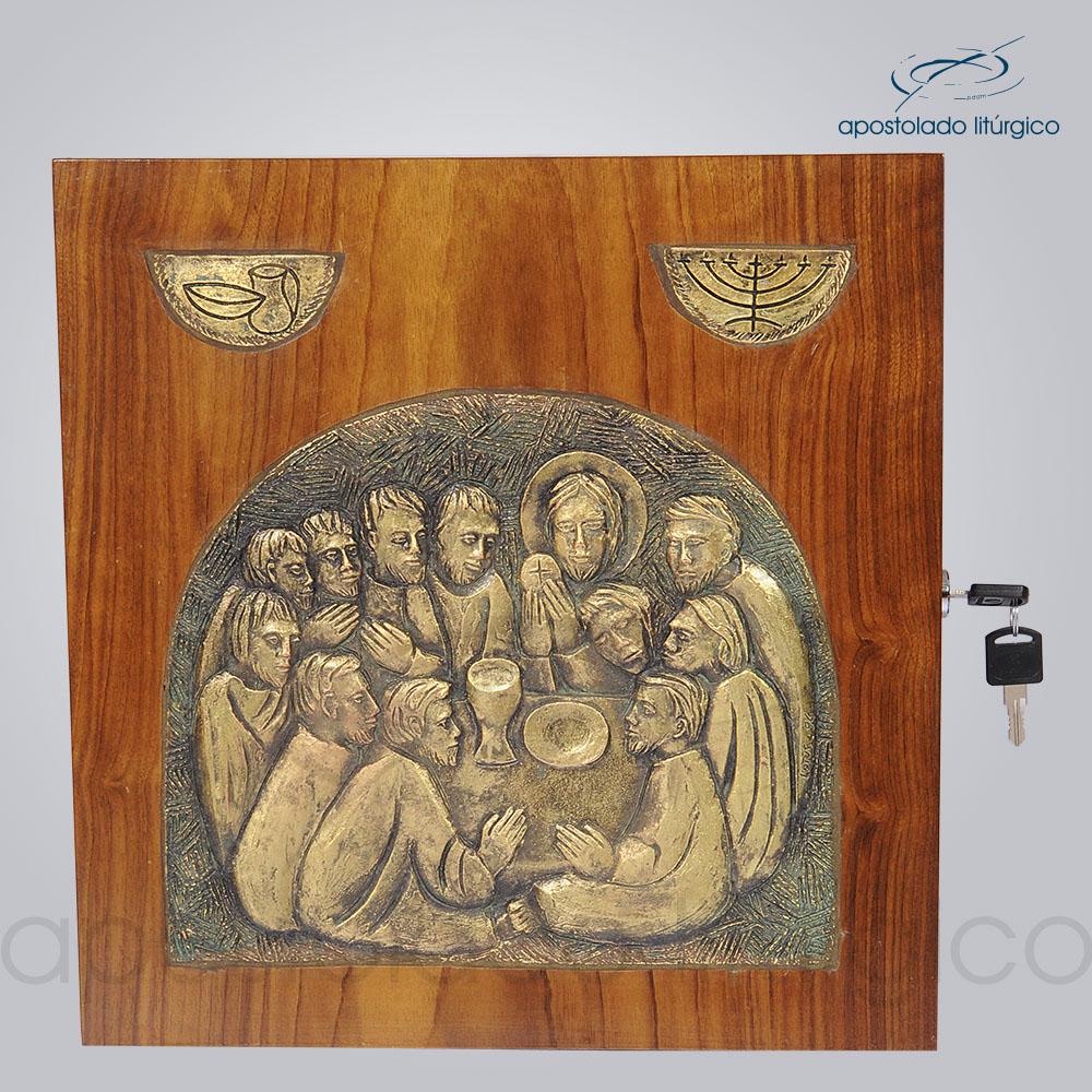 Sacrario Ceia com simbolo metalizado 32x32x28 cm frente cod 4038 | Apostolado Litúrgico Brasil